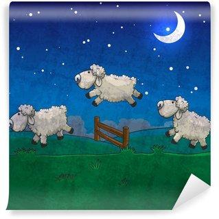 Vinylová Fototapeta Tři ovce skákání přes plot. Hrabě jim spát.