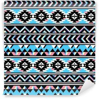 Vinylová Fototapeta Tribal aztec bezešvé modré a růžové vzor