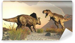 Vinylová Fototapeta Triceratops a tyrex tyranosaurus rex