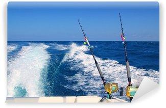 Vinylová Fototapeta Trolling rybářský člun prut a zlaté slané kotouče