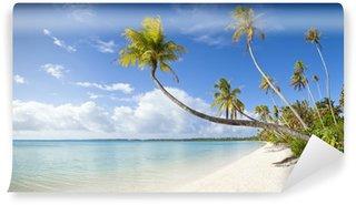 Vinylová Fototapeta Tropické bílá písečná pláž a modré laguny ve Francouzské Polynésii