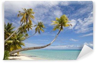 Vinylová Fototapeta Tropické bílá písečná pláž a modré laguny