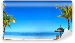 Vinylová Fototapeta Tropické pláže panorama s lehátky a slunečníky