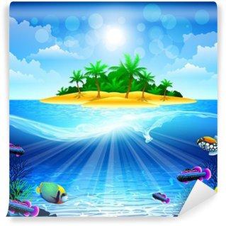 Fototapeta Winylowa Tropikalna wyspa w oceanie z rafy koralowej
