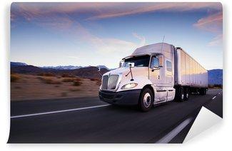 Vinylová Fototapeta Truck a dálnice při západu slunce - doprava pozadí