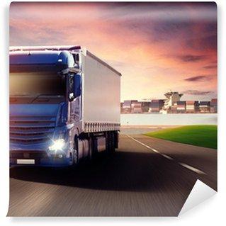 Vinylová Fototapeta Truck a nákladní lodě