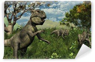 Fototapeta Winylowa Trzy Archaeoceratops Dinosaurs Exploring - 3d render