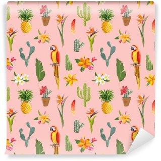 Fototapeta Winylowa Tukan Papuga. Tropikalne kwiaty tle. Retro Seamless Pattern