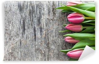 Vinylová Fototapeta Tulipány na dřevo