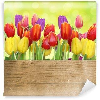 Vinylová Fototapeta Tulipány s dřevěným panelem