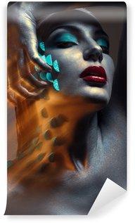 Fototapeta Vinylowa Twórczy Portret piękno z błękitnym łuszczenie