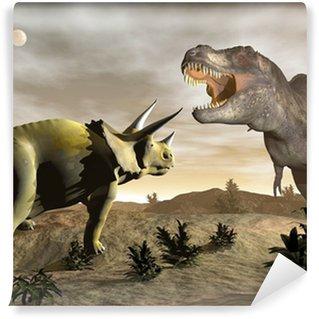 Fototapeta Winylowa Tyrannosaurus rycząc na Triceratops - 3D render