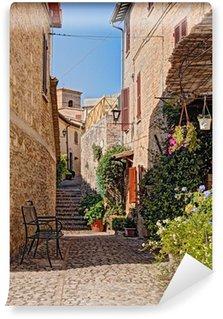Fototapeta Vinylowa Uliczka z kwiatami małego miasteczka w Umbrii, Włochy