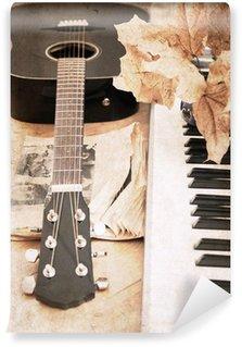 Vinylová Fototapeta Umělecká díla ve stylu vintage, kytaru a kladívkový klavír