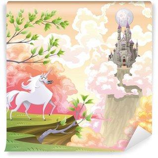 Vinylová Fototapeta Unicorn a mytologické krajiny. Vektorové ilustrace
