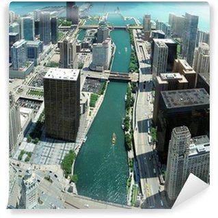 Vinylová Fototapeta Unikátní Chicago panorama panorama z osmdesátáosmého podlahy na řece Chicago