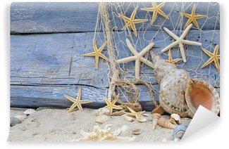 Vinylová Fototapeta Urlaubserinnerung: Posthornschnecke, Seesterne und fischernetz