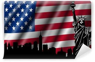 Vinylová Fototapeta USA Americká vlajka s Socha svobody Skyline Silhouette