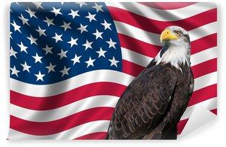 Vinylová Fototapeta USA vlajka orel bělohlavý