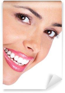 Vinylová Fototapeta Usmívající se mladá žena tvář. Na bílém pozadí.