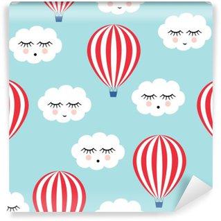 Vinylová Fototapeta Usmívající se spánkem mraky a horkovzdušné balóny bezešvé vzor. Roztomilé miminko vektor pozadí. Dítě styl kreslení.