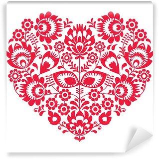 Vinylová Fototapeta Valentines Day lidového umění červené srdce - Polský vzor