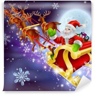 Vinylová Fototapeta Vánoce Santa létání v jeho sáně nebo sáňky