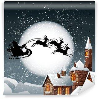 Vinylová Fototapeta Vánoční Ilustrace Santa a jeho sobi
