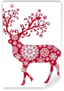 Vinylová Fototapeta Vánoční jelen s ornamenty a sněhové vločky, vektor