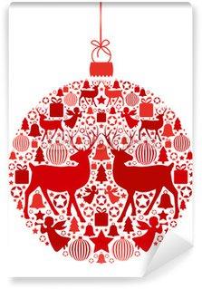 Vinylová Fototapeta Vánoční koule vánočními motivy