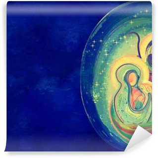 Vinylová Fototapeta Vánoční náboženské betlém, Svatá rodina abstraktní umělecké akvarel ilustrační Mary Josef a Ježíš v hvězdné noci