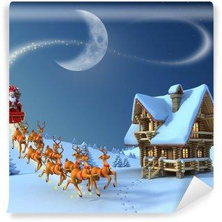 Vinylová Fototapeta Vánoční noční scéna - Santa Claus jezdí sobí sáně