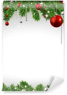 Vinylová Fototapeta Vánoční pozadí s jedlové větve a míčky.