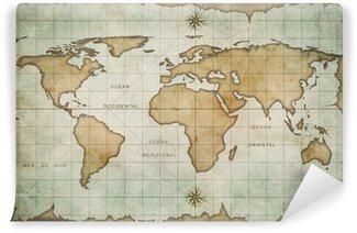 Vinylová Fototapeta Ve věku mapa světa