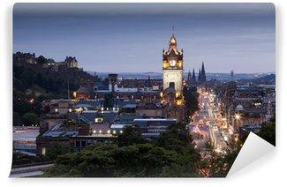 Vinylová Fototapeta Večerní panoráma města Edinburgh, Skotsko, Velká Británie
