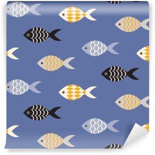 Fototapeta Vinylowa Vector czarne i białe ryby szwu. Szkoła ryby w rzędach na błękitnym oceanie wzorca. Lato motywu morskich.