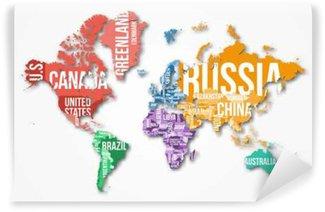 Vinylová Fototapeta Vector podrobná mapa světa s hranicemi a názvy zemí. Vzdělávání, podnikání a cestovní infographic koncept.