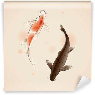 Vinylová Fototapeta Vector Yin Yang Koi ryby v orientálním stylu malby