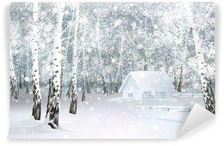 Fototapeta Winylowa Vector zimy śnieżny krajobraz z domu w lesie brzozy.