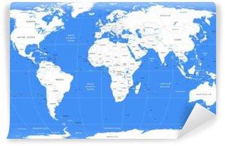 Vinylová Fototapeta Vektor bílá mapa světa | Detailní velká politická mapa světa
