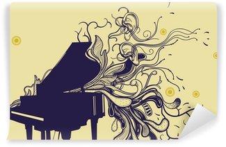Vinylová Fototapeta Vektor klavír a ručně malovaná abstraktní rostliny