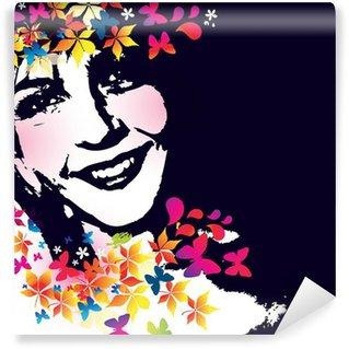 Vinylová Fototapeta Vektor květinové dívka