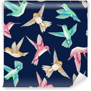 Vinylová Fototapeta Vektorové bezproblémové létání malé rajkami konverzační vzoru více barev, jaro letního času, jemný romantické bzučení-pták, Colibrì pozadí celoplošný design tisku