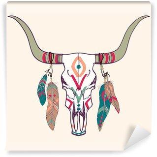 Vinylová Fototapeta Vektorové ilustrace býčí lebky s peřím