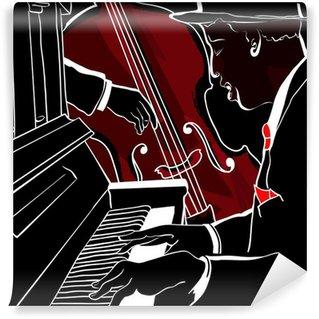 Vinylová Fototapeta Vektorové ilustrace Jazz klavír a kontrabas