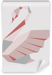 Vinylová Fototapeta Vektorové ilustrace stylizované labutě na šedém pozadí