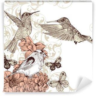 Vinylová Fototapeta Vektorové pozadí s ptáky a motýly