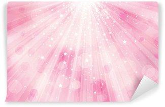 Vinylová Fototapeta Vektorové třpytky růžové pozadí s paprsky světla a hvězd.