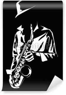 Vinylová Fototapeta Vektorový obrázek saxofonista