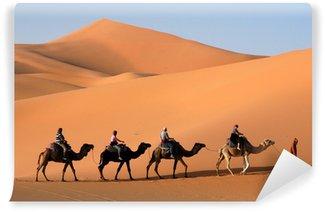 Vinylová Fototapeta Velbloudí karavana jde písečné duny v saharské poušti